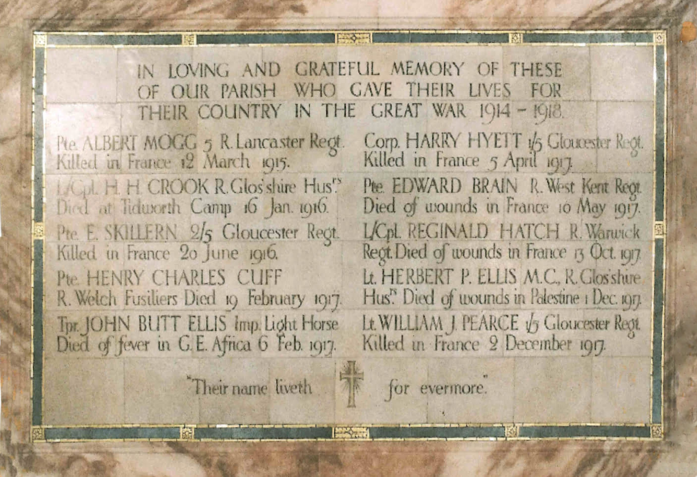 Highnam Holy Innocents memorial to those who were lost
