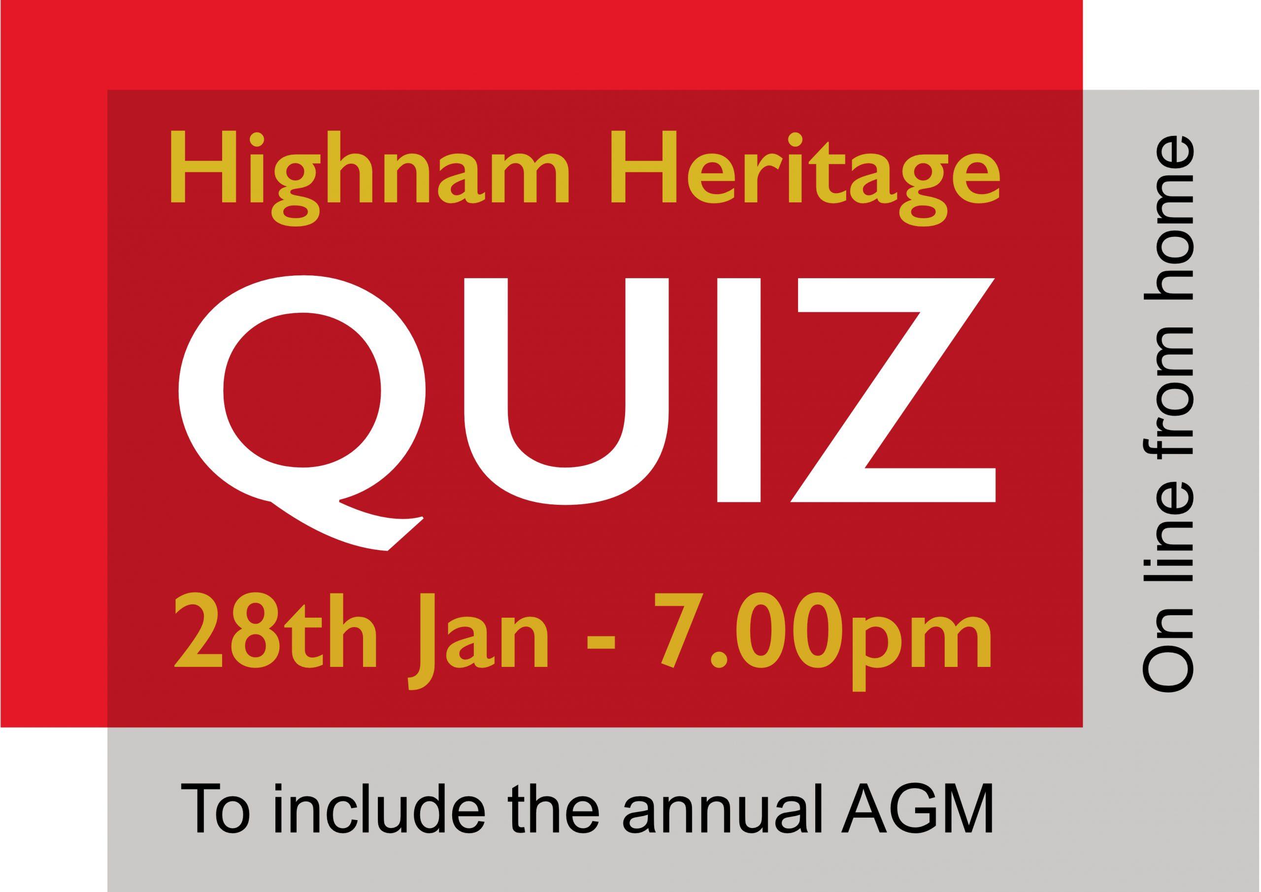 AGM & Quiz 28th January – 7.00pm
